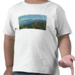 Lago y montañas verdes camiseta