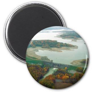 Lago y presa 2 berlin imán redondo 5 cm