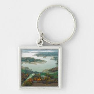 Lago y presa 2 berlin llavero cuadrado plateado