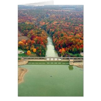 Lago y presa berlin tarjeta de felicitación