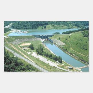 Lago y presa Burnsville Pegatina Rectangular