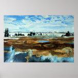 Lago Yellowstone en poster del invierno