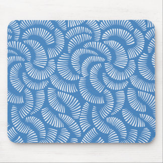 Lagoon Blue Japanese Tropical Fans Pattern Mouse Pad