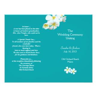 "Lagoon Blue Plumeria Beach Wedding Program 8.5"" X 11"" Flyer"