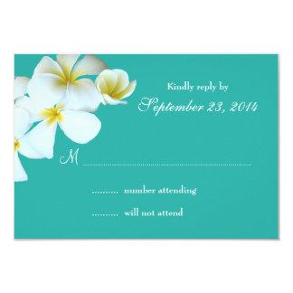 Lagoon Blue Plumeria Wedding Invitation Reply Card