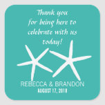 Lagoon Blue Starfish Square Wedding Favor Label Sticker