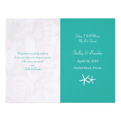 Lagoon Blue Starfish Wedding Program Cover Custom Letterhead