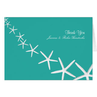 Lagoon Blue Starfish Wedding Thank You Notes Cards