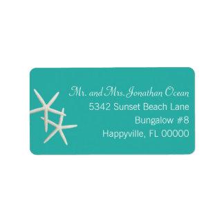 Lagoon Green Starfish Wide Return Address Labels