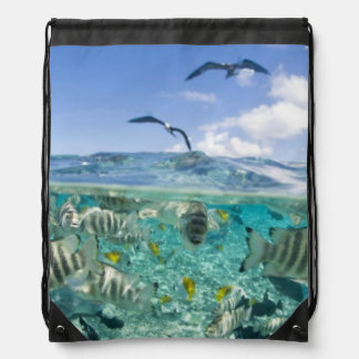 Lagoon safari trip featuring Stingrays Drawstring Backpack