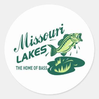 lagos de Missouri de la perca americana Etiqueta Redonda