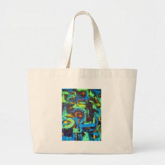 Laguna azul - arte abstracto bolsas lienzo
