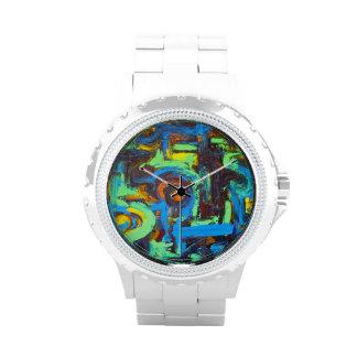 Laguna azul - arte abstracto reloj de mano