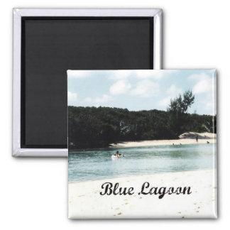 Laguna azul imán cuadrado