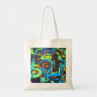 Laguna azul - tote del arte abstracto bolsas