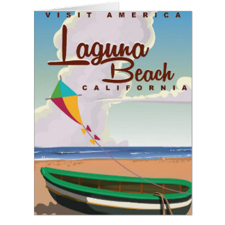 Laguna Beach California Vintage Travel Poster Card