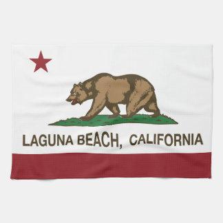 Laguna Beach de la bandera del estado de Californi Toallas De Mano