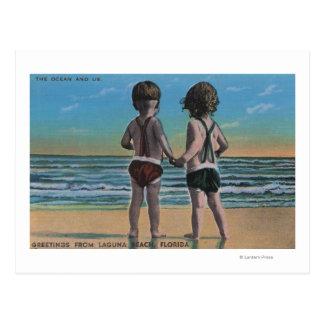 Laguna Beach, FL - Greetings From Scene w/ Kids Post Card