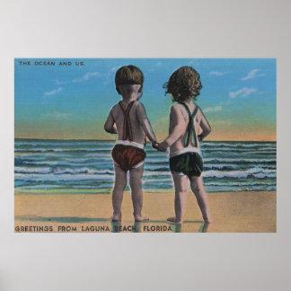 Laguna Beach, FL - Greetings From Scene w/ Kids Poster