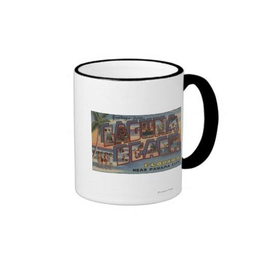 Laguna Beach, Florida - Large Letter Scenes Ringer Coffee Mug
