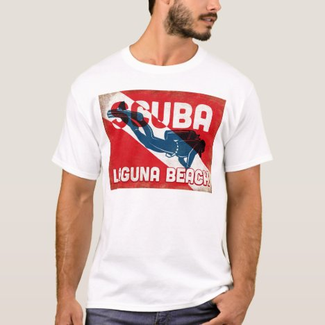 Laguna Beach Scuba Diver - Blue Retro T-Shirt