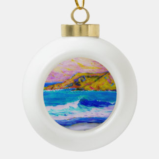 laguna beach splash ceramic ball christmas ornament