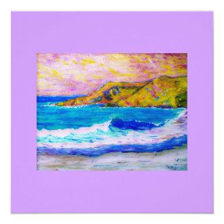 laguna beach splash 5.25x5.25 square paper invitation card