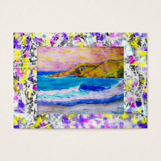 laguna beach splash paint purple drip business card