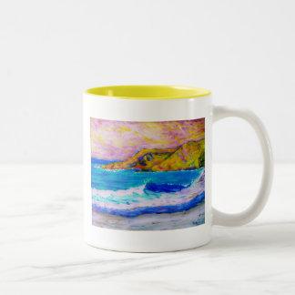 laguna beach splash yellow Two-Tone coffee mug