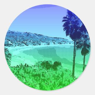 Laguna Beach,toony,green Classic Round Sticker