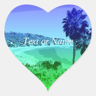 Laguna Beach, toony green Heart Sticker