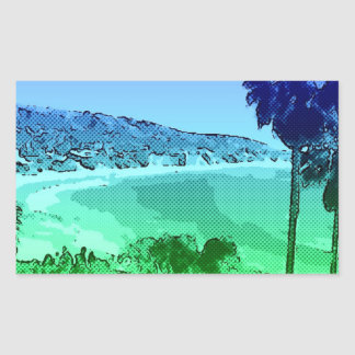 Laguna Beach,toony,green Rectangular Sticker