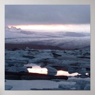 Laguna de glaciar Iceland Poster