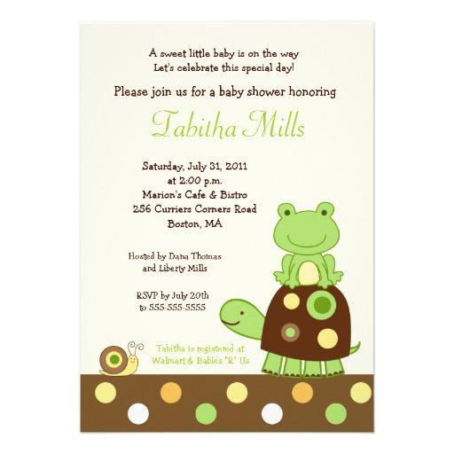 laguna frog turtle 5x7 baby shower invitation 2