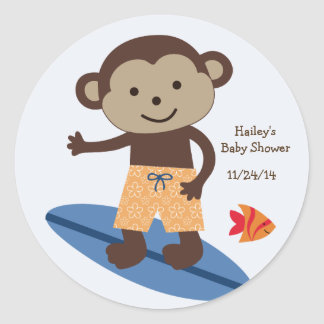 Laguna Surfer Monkey Stickers/Cupcake Toppers