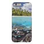 Laguna tropical en el atolón del sur de Ari en Funda De iPhone 6 Barely There