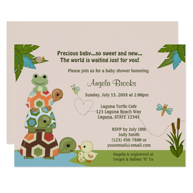 turtle baby shower invitations & announcements | zazzle, Baby shower invitations