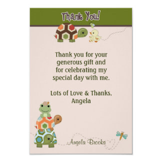 Laguna TURTLE Baby Shower Thank You (FLAT style) Personalized Invites