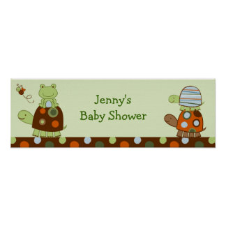 Laguna Turtle Frog Personalized Baby Shower Banner Posters