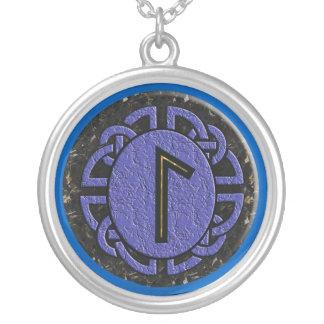 """laguz"" elder futhark round pendant necklace"