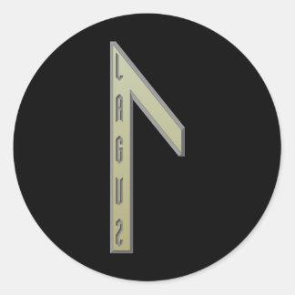 Laguz Rune gold Classic Round Sticker