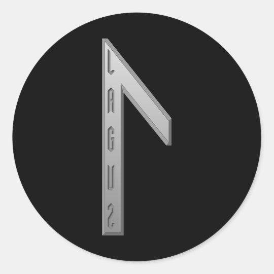 Laguz Rune grey Classic Round Sticker