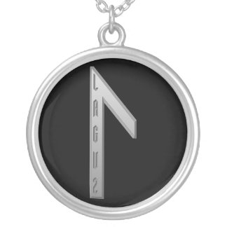 Laguz Rune grey Silver Plated Necklace