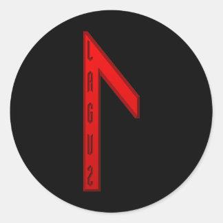 Laguz Rune red Classic Round Sticker