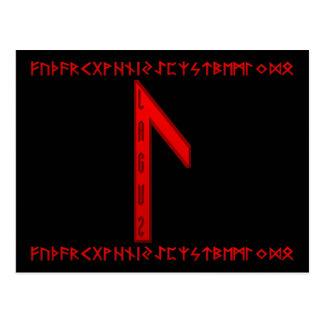 Laguz Rune red Postcard