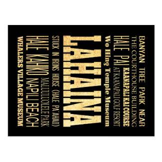 Lahaina City of Hawaii Typography Art Postcard
