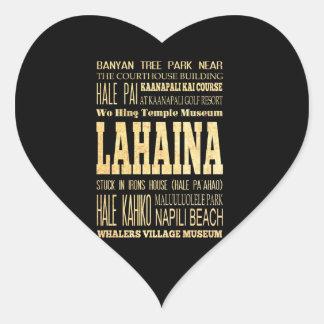 Lahaina City of Hawaii Typography Art Heart Sticker