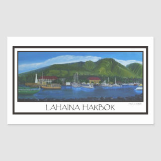 Lahaina harbor rectangular sticker