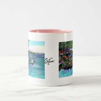Lahaina Maui~ Fish company painting Two-Tone Coffee Mug