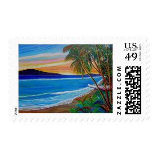 Lahaina sunset postage stamp